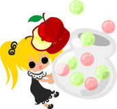 The cute illustration of an apple and a girl Royalty Free Stock Photo