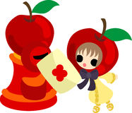 The cute illustration of an apple and a girl Stock Photography