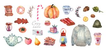 Cute illustration of autumn and winter hygge elements stock illustration