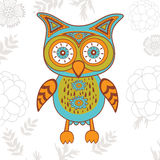 Cute illustration of bright owl character Stock Photo
