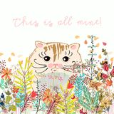 Cute illustration with cat between field summer. Flowers Royalty Free Stock Photos