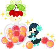 The cute illustration of cherry sweets Royalty Free Stock Images