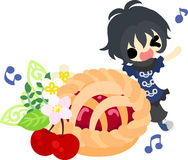 The cute illustration of cherry sweets. A cute little girl and a pie of cherry Stock Photo