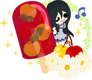 The cute illustration of cherry sweets Stock Image