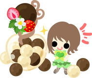 The cute illustration of chocolate sweets Stock Photo