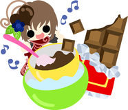 The cute illustration of chocolate sweets Royalty Free Stock Photos