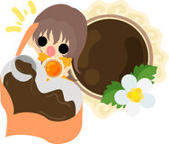 The cute illustration of chocolate sweets Stock Photography