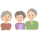 simple Cute illustration of asian elder people Royalty Free Stock Photo