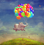 Cute  illustration of a flying elephant with balloons Stock Photo