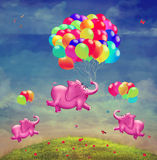 Cute  illustration of  flying elephants with balloons. In the sky Stock Image