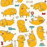 Cute  illustration with fun puppies in seamless pattern. Stock Images
