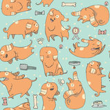 Cute  illustration with fun puppies in seamless pattern.  Royalty Free Stock Photos