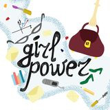 Cute illustration girl business power. royalty free illustration