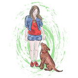 Cute illustration girl with dog Stock Images