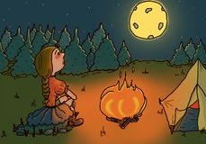 Cute illustration of a girl hiking in the woods. Cute and fun digital illustration of a girl in the woods in amazement looking at the full moon Stock Image