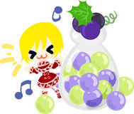 The cute illustration of grapes and a girl Stock Photo