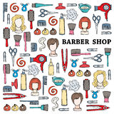 Cute illustration with hand drawn symbols of barber shop Stock Images