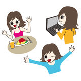 Cute illustration of happy lady Stock Photography