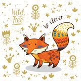 Cute illustration indian fox with text be clever Stock Photography