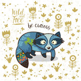 Cute illustration indian raccoon with text be curious Royalty Free Stock Images