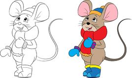 Illustration of a mouse, dressed for winter, in color and black and white, perfect for children`s coloring book stock illustration