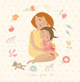 Cute illustration mom hugging their children Stock Image