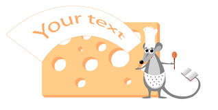 Cute illustration of mouse with cheese Stock Photography