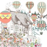 Cute illustration with old European house, garden and air balloo. Ns. Boutique banner or card Stock Image