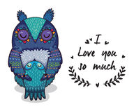 Free Cute Illustration Owls With Text I Love You So Much Stock Images - 71074034