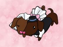 Couple of Dachshunds Getting Married royalty free illustration
