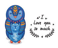 Cute illustration penguins with text I love you so much Royalty Free Stock Photography