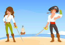 Cute illustration of pirate cartoon characters Stock Images