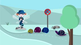 Cute illustration with police woman Royalty Free Stock Photos