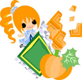 The cute illustration of pumpkin sweets Stock Photography