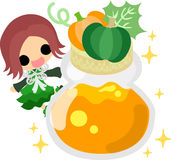 The cute illustration of pumpkin sweets Stock Photo