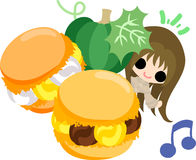 The cute illustration of pumpkin sweets Stock Images