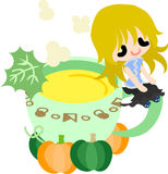 The cute illustration of pumpkin sweets Stock Image