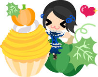 The cute illustration of pumpkin sweets Royalty Free Stock Photography