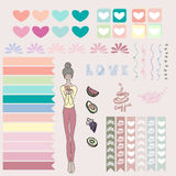 Cute illustration set, tags, cartoon, hearts, fruits, coffee, flora, line design Royalty Free Stock Images