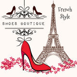 Cute illustration shoes boutique red shoe hang on a banner. Advertising  illustration shoes boutique red shoe hang on a banner, Eiffel tower on a second plan Royalty Free Stock Photography