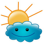Cute illustration of sun and smiled cloud Royalty Free Stock Photography