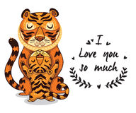 Cute illustration tigers with text I love you so much Stock Image