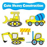 Cute Illustration of a truck for heavy construction flat cartoon royalty free illustration