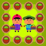 Strawberry picking Stock Images