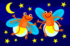 Dance of fireflies. A cute illustration of a two fireflies dancing and having a night party Royalty Free Stock Photography