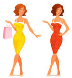 Cute illustration of a young woman in retro dress. Shopping Stock Images