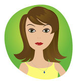 Cute illustrations of beautiful young girl avatar. Cute illustrations of beautiful young girls avatar icon Stock Photography