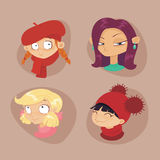Cute illustrations of beautiful young girls. With various hair style Stock Images