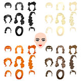 Cute illustrations of beautiful young girls with various hair style Stock Photo