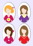 Cute illustrations of beautiful young girls with various hair style. Illustration Stock Image